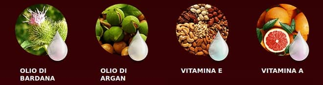 ingredienti olio argan vitamina e olio di bardana vitamina a