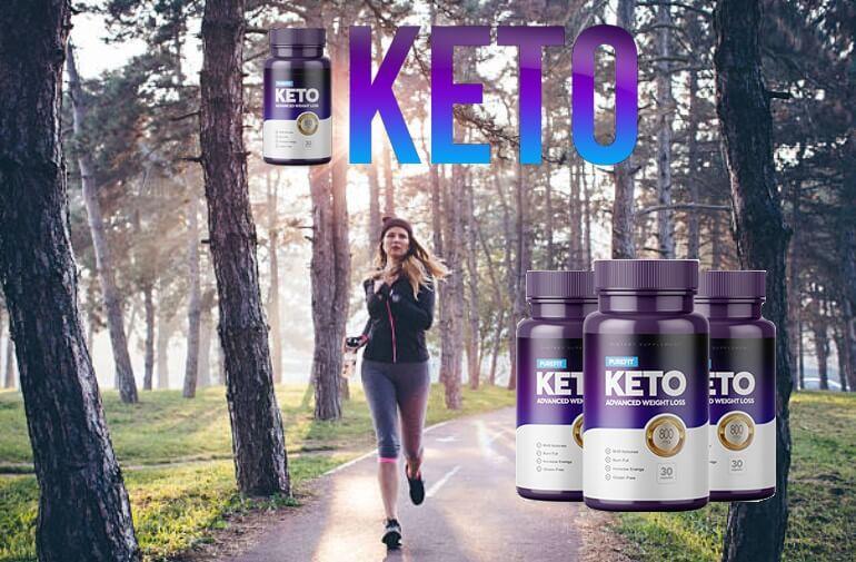 Purefit KETO, donna che corre nella foresta