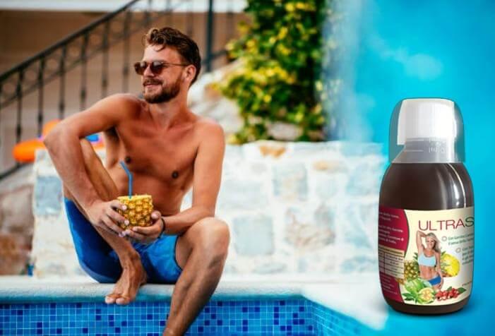 ultraslim, uomo, ananas, piscina