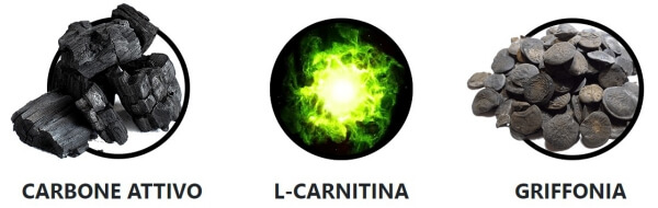 carbone attivo, griffonia