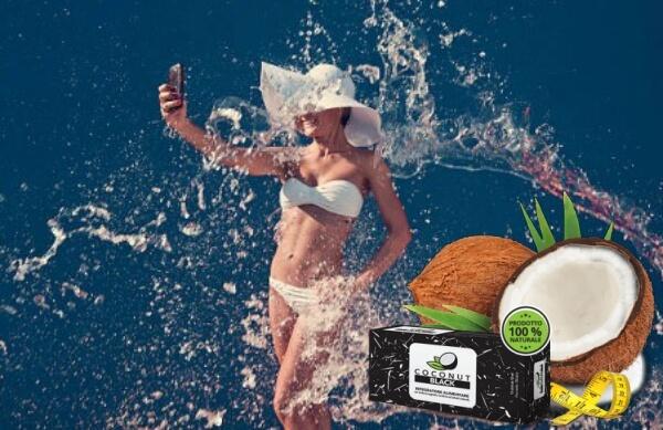donna, selfie, acqua, coconut black